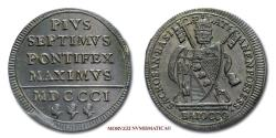 World Coins - Pius VII BAIOCCO 1801 58/70 Papal coin for sale