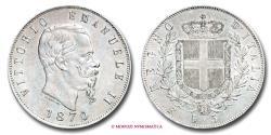 World Coins - Kingdom of Italy Victor Emmanuel II 5 LIRE 1870 Rome SILVER RARE (R) italian coin
