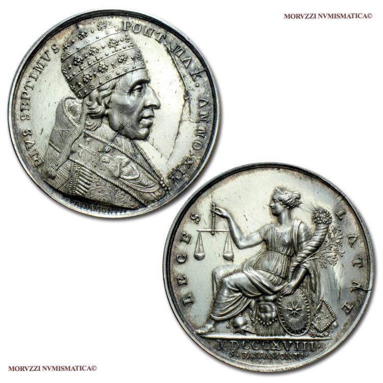 World Coins - Pope Pius VII Silver Medal 1818 ANNO XIX New legal procedure code Opus Passamonti 63/70 VERY RARE (Bartolotti E818) Papal medal for sale