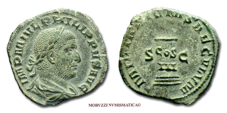 Ancient Coins - Philip I the Arab SESTERTIUS 248 AD MILIARIVM SAECVLVM S C RARE (R) Roman coin for sale