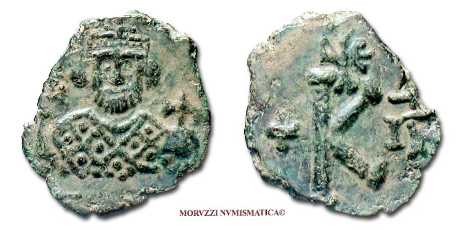 Ancient Coins - Leontius (Leontios) 1/2 FOLLIS 695-698 AD Syracuse UNIQUE SPECIMEN (RRRRR) Byzantine coin