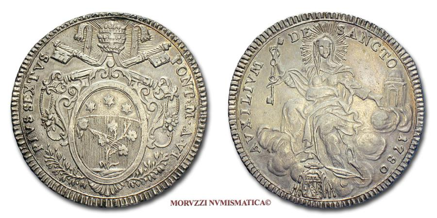 World Coins - Pius VI SCUDO 1780 A. VI SILVER 45/70 Papal coin for sale