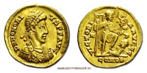 Ancient Coins - HONORIUS SOLIDUS 395-402 A.D. VICTORIA AVGGG MEDIOLANUM GOLD roman coin