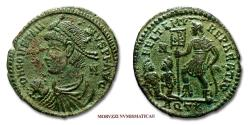 Ancient Coins - CONSTANTIUS II SMALL BRONZE 348-350 AD FEL TEMP REPARATIO AQT Aquileia RARE (R) Roman coin for sale
