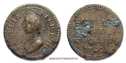 World Coins - Austrian occupation of Ronciglione MADONNINA DA 3 BAIOCCHI COPPER 40/70 VERY RARE (RR) Papal coin for sale
