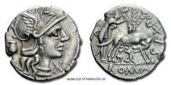 Ancient Coins - GENS POMPEIA Sex. Pompeius Fostlus SILVER DENARIUS 137 BC Roma / she-wolf suckling twins, Faustulus and Ficus Ruminalis 45/70 SCARCE (NC) Roman Republican coin for sale