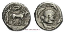 Ancient Coins - Syracuse SILVER TETRADRACHM 480-476 BC Arethusa 40/70 RARE (R) Greek coin for sale