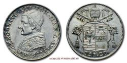 World Coins - Gregory XVI 20 BAIOCCHI 1834 SILVER 63/70 Papal coin for sale