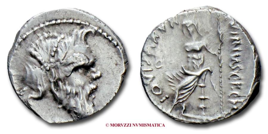 Ancient Coins - GENS VIBIA C. Vibius C.f. C.n. Pansa Caetronianus DENARIUS 48 BC roman coin