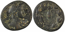 Ancient Coins - Kings of Commagene, Antiochos IV Epiphanes, Lakanatis, AE27 unit, 38-72 AD, Countermarked anchor