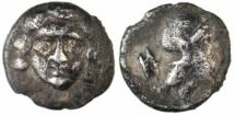 Ancient Coins - Selge (Pisidia), AR obol, Apollo / Athena, ca. 350-300 BC, interesting style