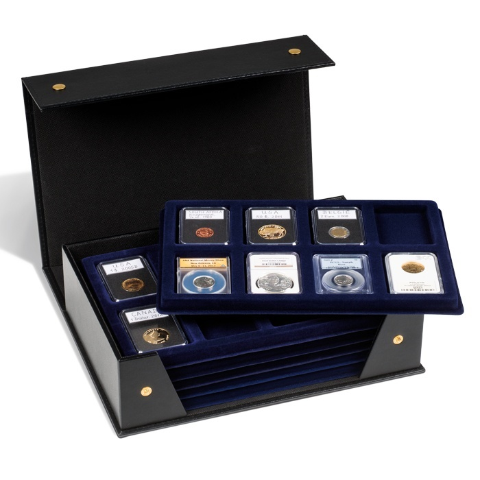 Ancient Coins - Tablo coin box L with 6 removable trays for 48 slabs