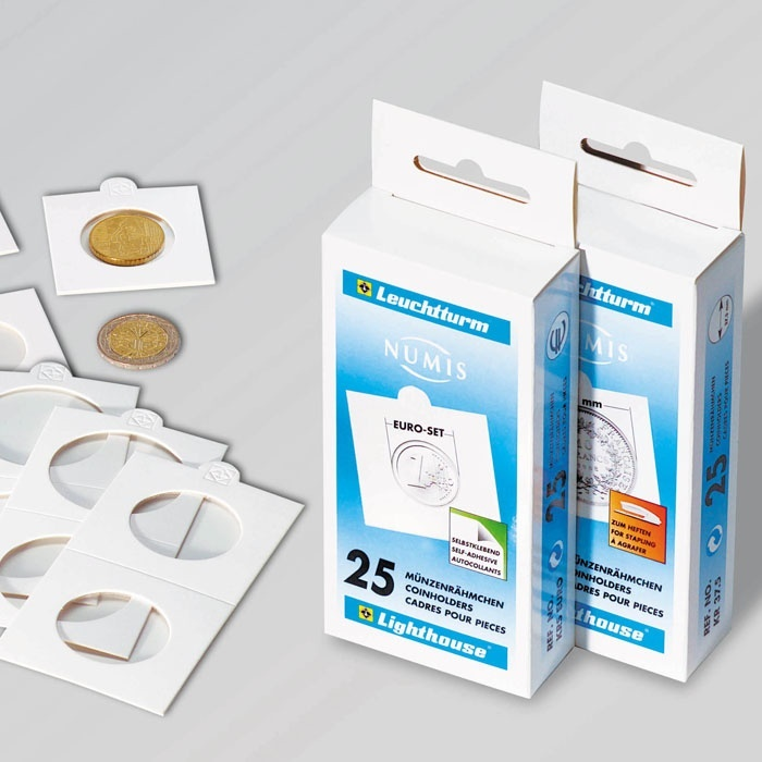 Ancient Coins - Coin holders for stapling, for coins up to 27.5mm, saver pack, 100 per box