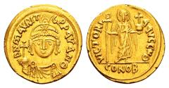 Ancient Coins - Maurice Tiberius. 582-602. AV Solidus (19mm, 4.41 gram) Carthage, dated Indiction 9, AD 590/1