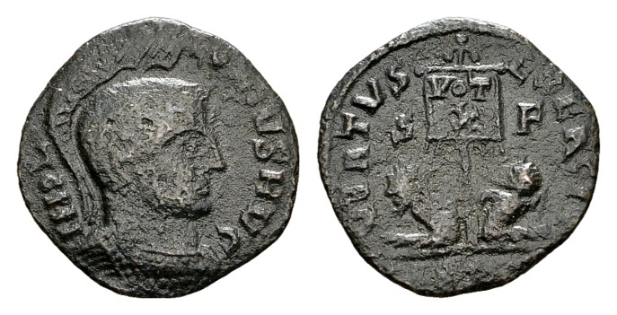 "Ancient Coins - Time of Constantine the Great AD 307-337, AE ""barbarous"" imitation (18mm, 1.68 g) of an AE Follis ""Virtus Exercit"" prototype"