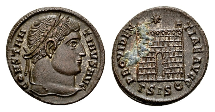 Ancient Coins - Constantine the Great AD 307-337, AE Follis Siscia / Ex Lückger