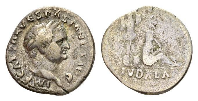 Ancient Coins - Vespasian AD 69-79, AR Denarius (18mm, 3.19g) Rome AD 70 - Judaea Capta issue