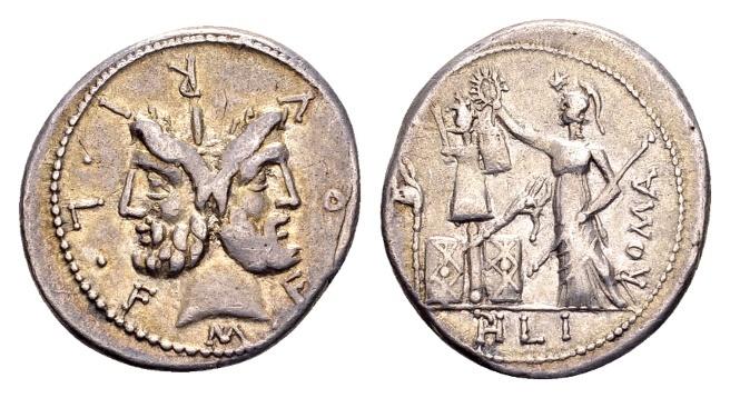 Ancient Coins - Roman Republic. M. Furius Philus, AR Denarius (19mm, 3.86g) Rome 120 BC
