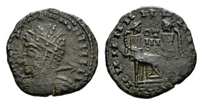 """Ancient Coins - Time of Constantine the Great AD 307-337, AE """"barbarous"""" imitation (16mm, 1.85 g) of a """"Victoriae Laetae"""" prototype"""