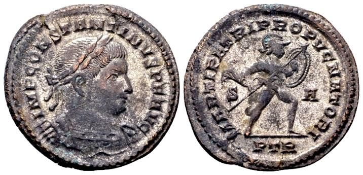 Ancient Coins - Constantine the Great AD 307-337, AE silvered Follis (27mm, 7.59 gram) Trier AD 307-08