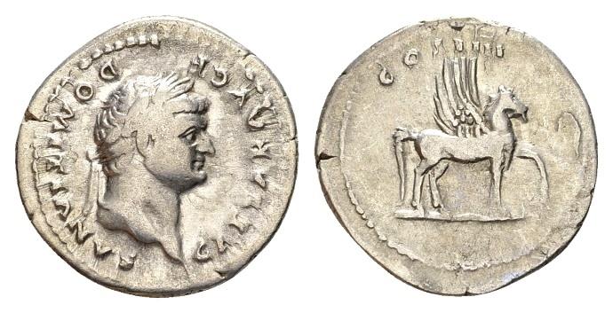 Ancient Coins - Domitian Caesar AD 69-81, AR Denarius (20mm, 3.17g) Rome AD 76-77