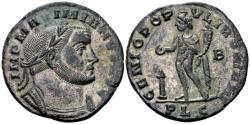 Ancient Coins - Maximian AD 286-310, AE silvered Follis (27mm, 9.43 gram) Lugdunum