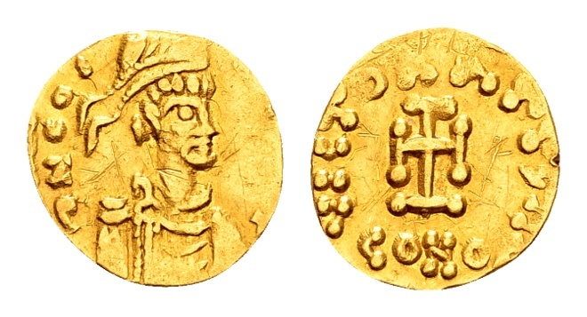 Ancient Coins - Constantine IV AD 668-685, Gold Tremissis (14/15mm, 1.16 g) Constantinopolis