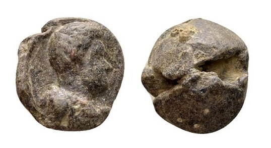Ancient Coins - Roman lead seal 4th century AD / Bust to right