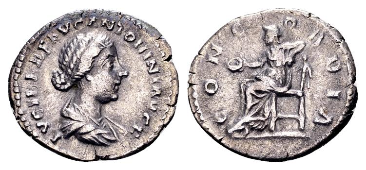 Ancient Coins - Lucilla, wife of Lucius Verus AD 161-169, AR Denarius (19mm, 3.09g) Rome