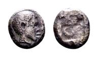 Ancient Coins - Lesbos, Uncertain. AR (Bi.) Obol (8mm, 0.76 gram) c. 5th century BC