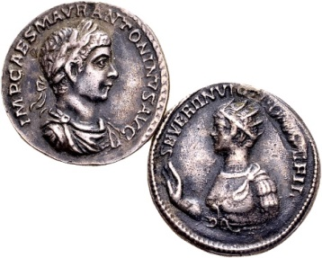 Ancient Coins - Lot of 2 good quality reproductions of Roman coins of Elagabalus and Geta