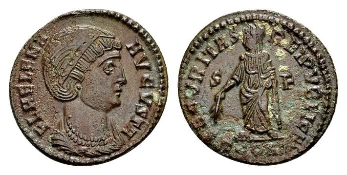 Ancient Coins - Helena, AE Follis (19mm, 2.86 g) Arelate AD 328 / Ex Lückger