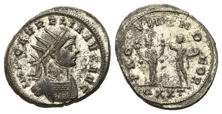 Ancient Coins - Aurelian AD 270-276, AE silvered Antoninianus (23mm, 4.35g) Ticinum