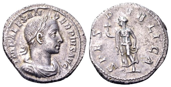 Ancient Coins - Severus Alexander AD 222-235, AR Denarius (19mm, 3.40 gram) Rome