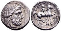Ancient Coins - Macedonian Kingdom. Philippos II 359-336 BC, AR Tetradrachm (25mm, 14.17 gram) Amphipolis, posthumously 316-295 BC