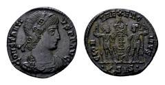 Ancient Coins - Christogram on banner - Constantius II Caesar AD 324-337, AE Follis (16 mm, 2.08 gram) Siscia AD 337-340