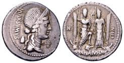 Ancient Coins - Roman Republic. C. Egnatius Maxsumus, AR Denarius (19mm, 3.79 g) Rome 75 BC