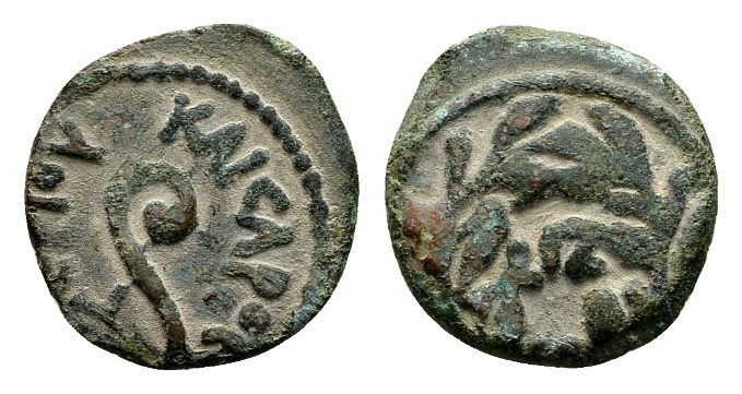 Ancient Coins - Judaea, Procurators. Pontius Pilate AD 26-36, under Tiberius AD 14-37, AE Prutah (15mm, 1.87g) dated year 17, AD 30/31