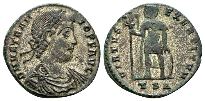 Ancient Coins - Vetranio AD 350, AE silvered Centenionalis (23mm, 4.81g) Thessalonica