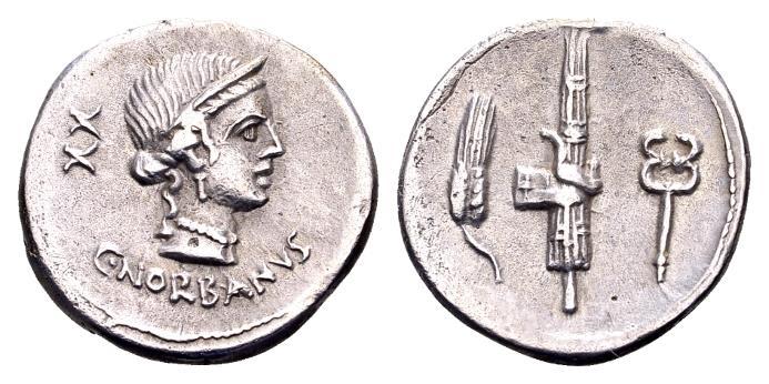 Ancient Coins - Roman Republic. C. Norbanus. AR Denarius (18mm, 3.24 g) Rome 83 BC
