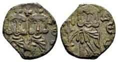 Ancient Coins - Spahr Col. - Constantine V AD 741-775, with Leo IV, AE Follis (17mm, 1.61 gram) Syracuse