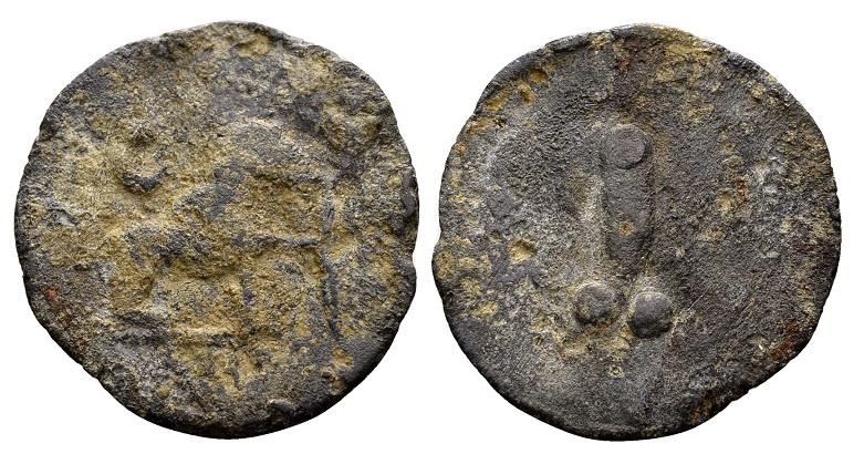 Ancient Coins - Rome. Lead tessera c. 1st century AD / Seated animal and phallus