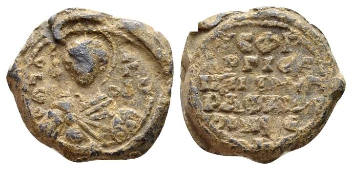 Ancient Coins - Anonymous. Byzantine lead seal late 11th-early 12th century AD / Speaking seal