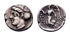 Ancient Coins - Bruttium, Terina. AR Diobol (10 mm, 0.75 gram) circa 420-400 BC