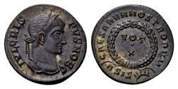 Ancient Coins - Crispus Caesar AD 317-326, AE Follis (19mm, 2.93 gram) Siscia 321-24