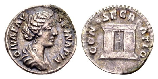 Ancient Coins - Diva Faustina II, AR Denarius (18mm, 3.05 g), Rome / Ex Lückger