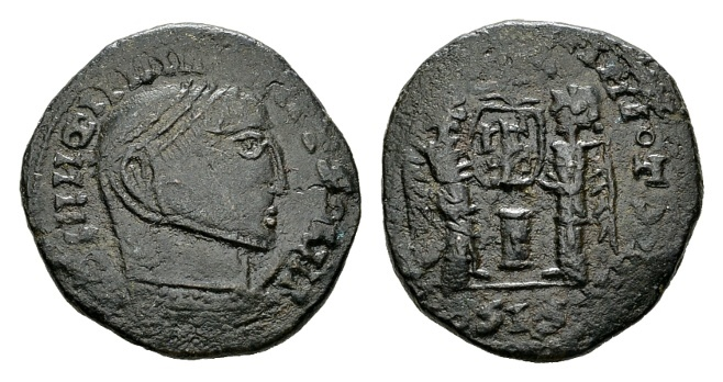 """Ancient Coins - Time of Constantine the Great AD 307-337, AE """"barbarous"""" imitation (19mm, 3.40 g) of a Siscia mint AE Follis """"Victoriae Laetae"""" prototype"""