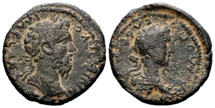 Ancient Coins - Judaea, Aelia Capitolina (Jerusalem). Marcus Aurelius AD 161-180 with Commodus, AE 24mm (10.63 gram)