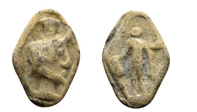Ancient Coins - Rome. Lead Tessera 1st century AD / Serapis and Mercury