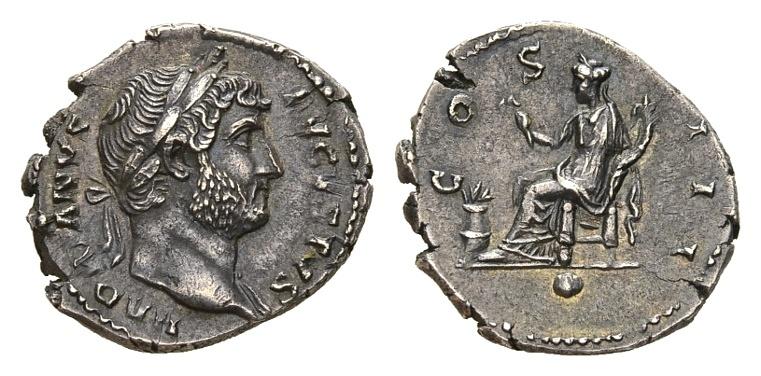 Ancient Coins - Hadrian AD 117-138, AR Denarius (19mm, 3.28g) Rome